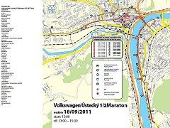 Mapa plánovaného půlmaratonu.