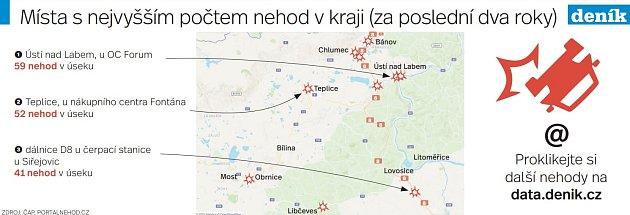 Mapa nehod vÚsteckém kraji.
