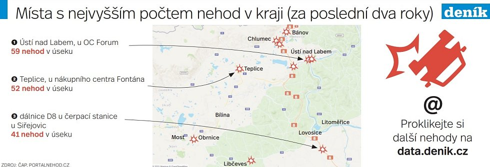 Mapa nehod v Ústeckém kraji.