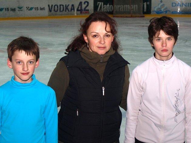Před důležitým závodem v Praze trénovali Petra Satková a Filip Ščerba s trenérkou Renatou Ptáčkovou.