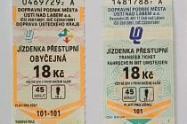 Nová (vlevo) a stará jízdenka ústecké MHD se od sebe příliš neliší.