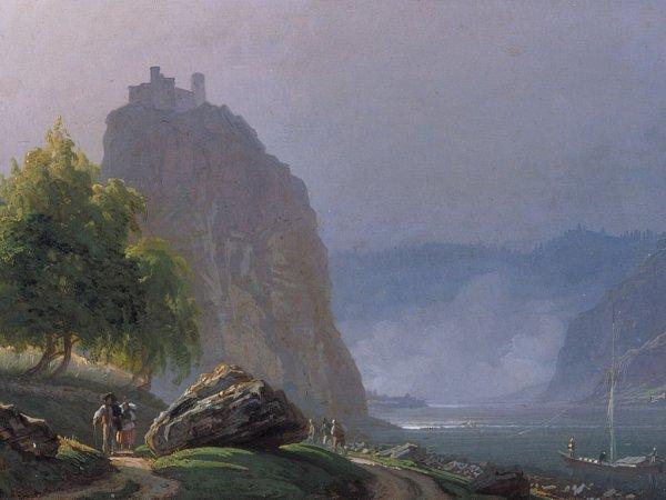 Hrad Střekov na obrazu Carla Roberta Crolla zroku 1848.