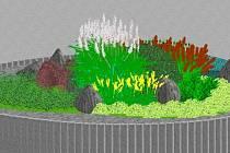 Vizualizace květinové výzdoby na kruhových objezdech v Ústí.