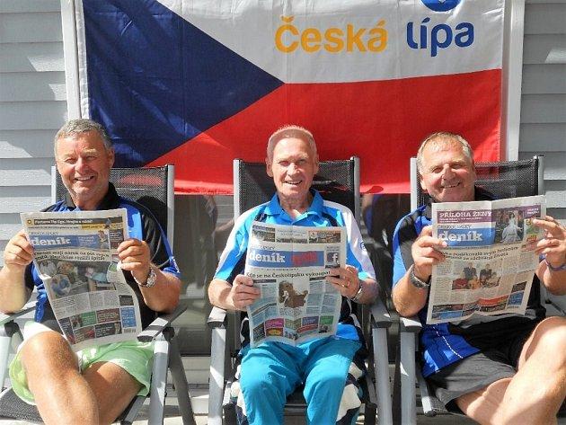 Ladislav Krsek, Karel Pácal a František Just zČeské Lípy na mistrovství Evropy veteránů ve stolním tenise ve švédském Helsingborgu.