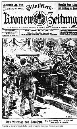 Titulní strana vídeňského listu Illustrierte Kronen Zeitung se zprávou osarajevském atentátu.