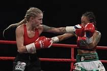 ANDĚLKÁ PĚST Fabiana Bytyqi (vlevo) a mexický vyzyvatelka Ana Arrazolaová na galavečeru profesionálního boxu v zápase o titul mistryně světa organizace WBC v lehké minimuší váhové kategorii v Kladně.