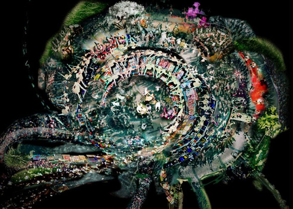 Jakub Nepraš, Cultures, 2007, videomalba na plexiskle, dvouminutová smyčka, každá z animací cca 150x100 cm.