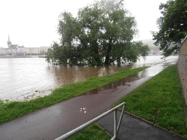 Vytrvalé deště zvedají hladinu řeky Labe v Ústí!
