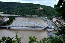 Povodně na snímcích z Mariánské skály.