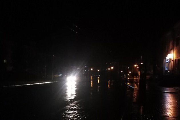 Masarykova ulice vÚstí nad Labem vneděli 23.února před desátou hodinou večer.