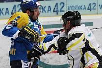 Zkušený obránce Ústeckých Lvů Jiří Zeman (vlevo) se v loňském roce nepříjemně zranil a sezona pro něj předčasně skončila. Nyní už ale znovu trénuje se svými spoluhráči.