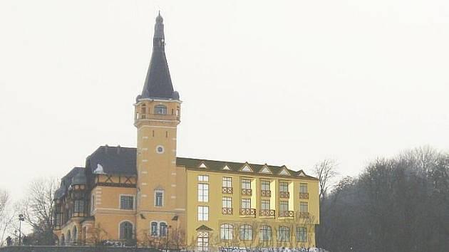 Aktuální návrh dostavby restaurace Větruše podle ateliéru Archatelier 2000. Autory jsou architekti  Jana Kallmünzerová a Jan Kallmünzer