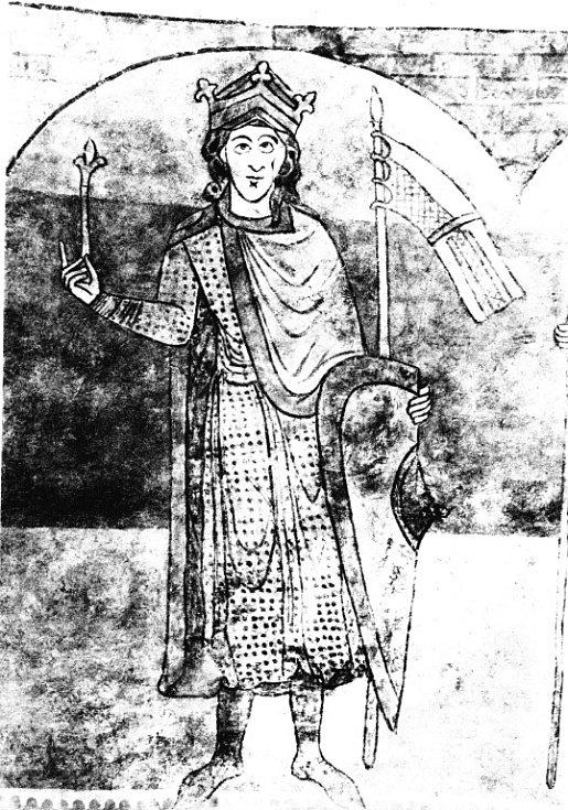 Český král Vratislav II. vyobrazený na stěně rotundy sv. Kateřiny ve Znojmě.