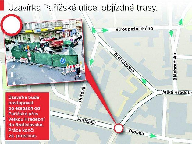 Objízdné trasy uzavírky vPařížské ulici.