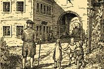 Hradby na rytině z 18. století. Středověká města obklopoval věnec hradeb, projít se dalo pouze městskou bránou. Opevnění tu zmizelo v 19. století.