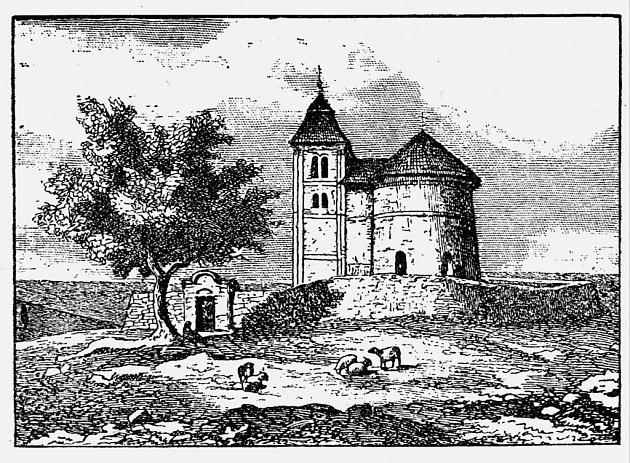 Budeč skostelíkem sv. Petra a Pavla na rytině z19. století.