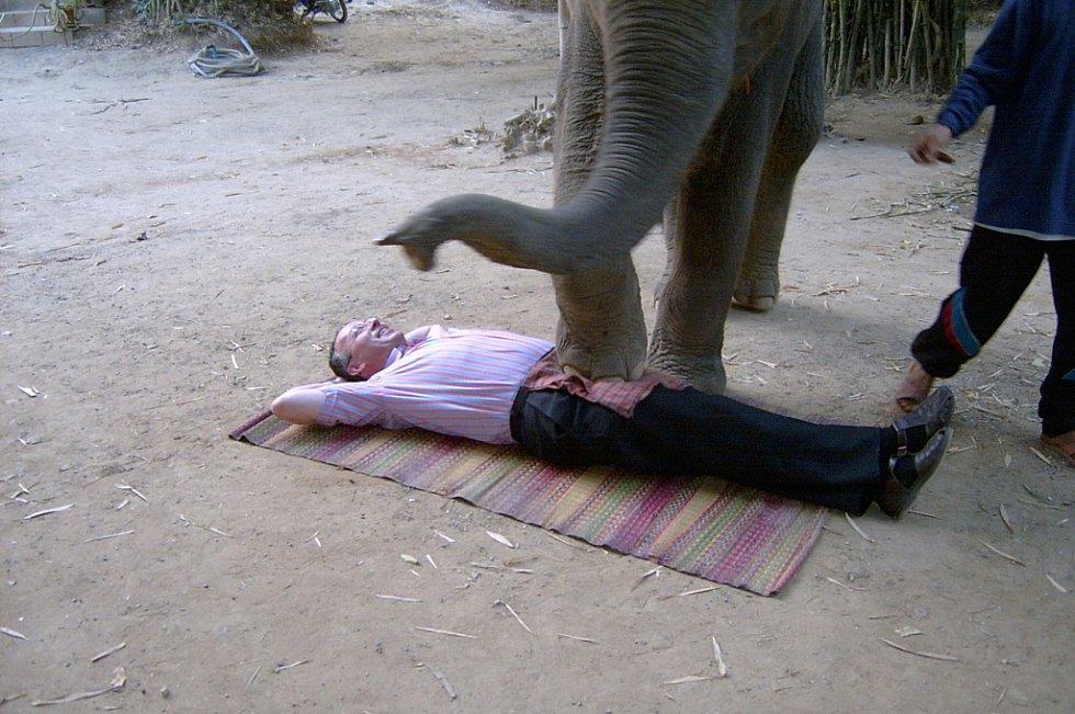Pavel Starý z Úštěka absolvoval při své cestě do Thajska sloní masáž.