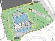 Vizualizace nové podoby venkovního areálu na Klíši
