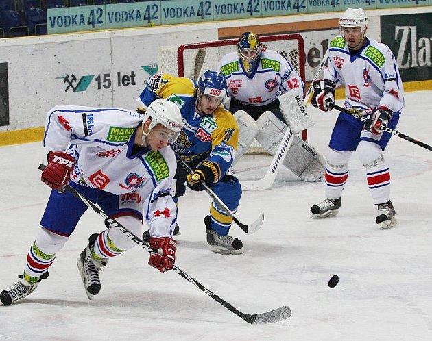 Z hokejového utkání mezi Ústím a Třebíč...