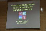 Prezident Miloš Zeman v Ústí nad Labem, diskuse se zastupiteli.