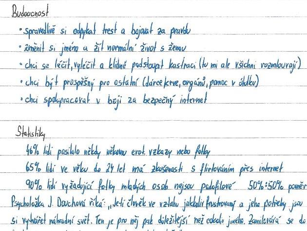 Část dopisu Martina M.