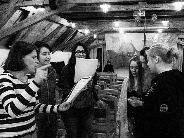 ZPĚVAČKA ZUZANA HANZLOVÁ se studentkami z Teplic.