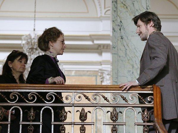 Tatiana Vilhelmová a David Švehlík při natáčení filmu Já, Mattoni.