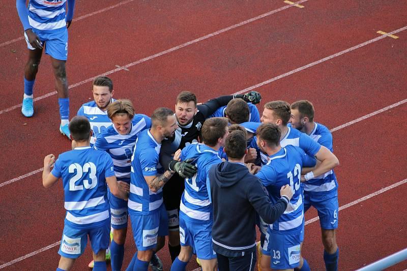 FK Ústí - Blansko, FNL 2020/2021. Fotbalisté Ústí oslavují výhru. Fotbalisté Ústí nad Labem ilustrační