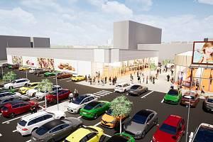 Vizualizace plánového nového obchodu řetězce Lidl a okolí na Střekově.