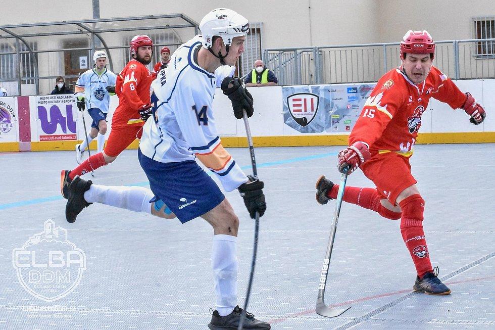 Elba DDM Ústí nad Labem - Hradec Králové, restart hokejbalové extraligy 2020/2021. Martin Stupka