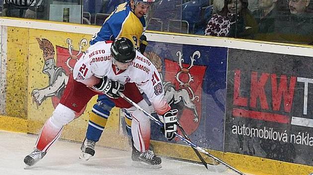 Z hokejového utkání mezi Ústím a Chomutovem...