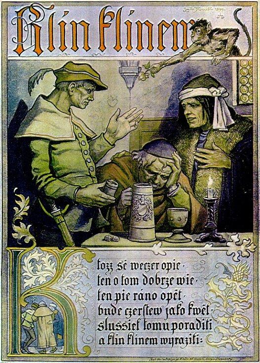 Pijácká říkanka ze středověku z krčmy.