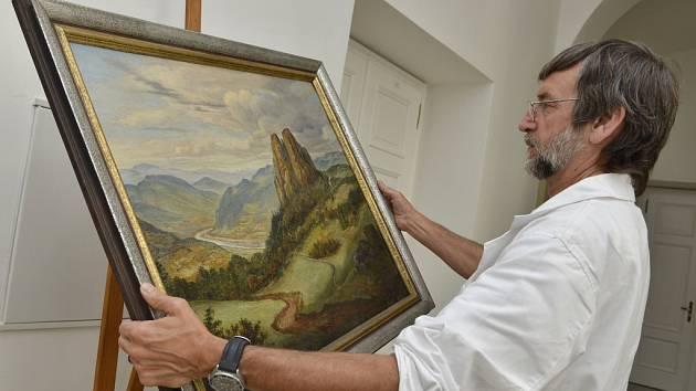 Ottův obraz Sperlingstein je malován olejovými barvami na malířský karton s tlačeným rastrem. Zobrazuje široký pohled do údolí Labe.