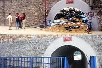 Myší díra pro pěší lidské tvory mezi nábřežím a hlavním nádražím. 1. snímek ze srpna 2002 a druhý z dnešních dnů.