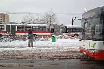 Sníh v Ústí nad Labem, pondělí 8. února