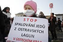 V Litoměřicích lidé protestovali proti spalování ostravských kalů v Ústeckém kraji.
