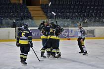 Ústečtí hokejisté slaví vítězný gól proti Havířovu, který je katapultoval do play-off Chance ligy 2020/2021