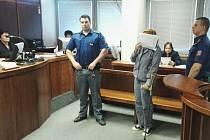 O stařecké holi a s papírem přes obličej. Tak přišla včera před krajský soud realitní makléřka Jitka Hájková-Vojtíšková z Ústí.