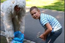 Prosluněný park byl plný dětí a zvířátek.