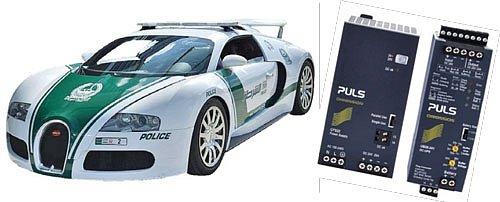 Buggati Veyron Super Sport jako servisní vozidlo dopravní policie vDubaji. Napájecí zdroje PULS zajistí nepřerušovaný provoz dopravního rádia policie vDubaji