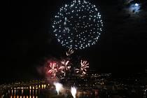 Novoroční ohňostroj v Ústí nad Labem