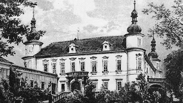Pohled na zámecký kostel a areál zámku od západu z roku 1833.