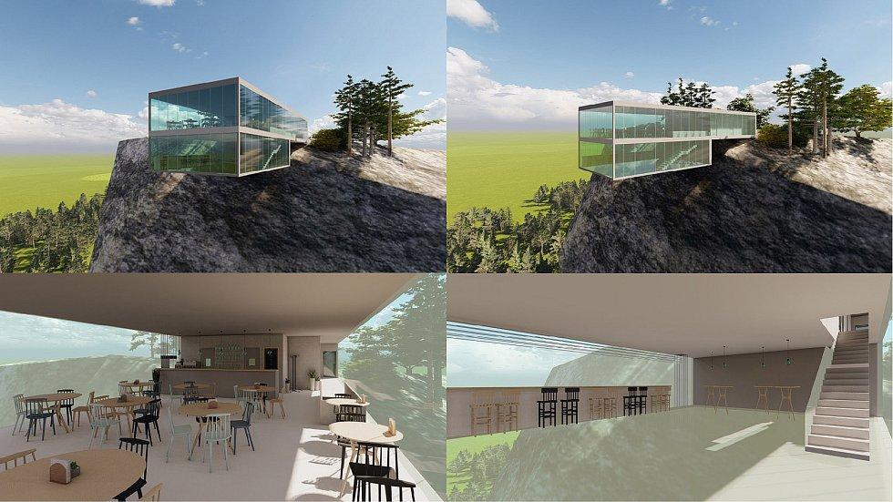 Studentský návrh vyhlídky na Mariánské skále do klauzurní výstavy Letní sklizeň 2021 Fakulty umění a designu UJEP.