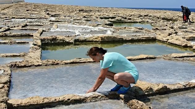 Produkce soli na ostrově Gozo. Fotografii ze své dovolené na Maltě poslala Miloslava Bernardová z Jílového u Děčína.