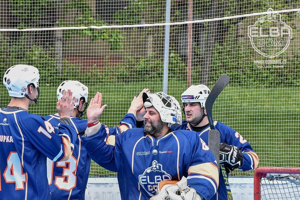KOVO Praha - Elba DDM Ústí nad Labem, hokejbal extraliga 2020/2021. Hokejbalisté Elba DDM ÚSTÍ ilustrační