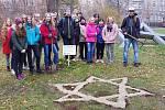 Cibulky žlutých krokusů vysadili školáci ZŠ Elišky Krásnohorské z Ústí nad Labem u památníku obětem holocaustu v ústeckých Městských sadech.