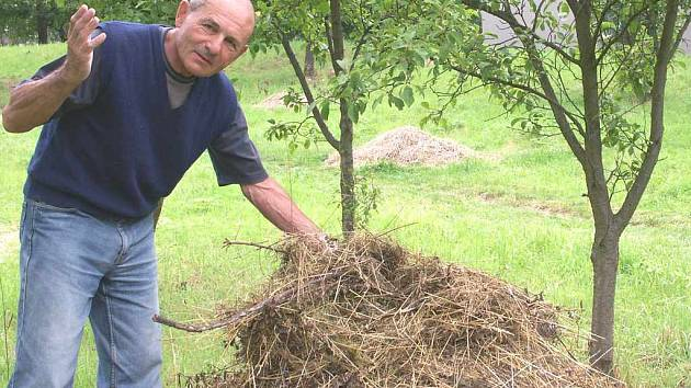 Na neuklizenou trávu upozornil místní obyvatel Miloš Soukup