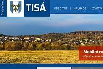 Část hlavní strany webu obce Tisá
