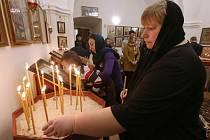 Vánoční pravoslavná bohoslužba.