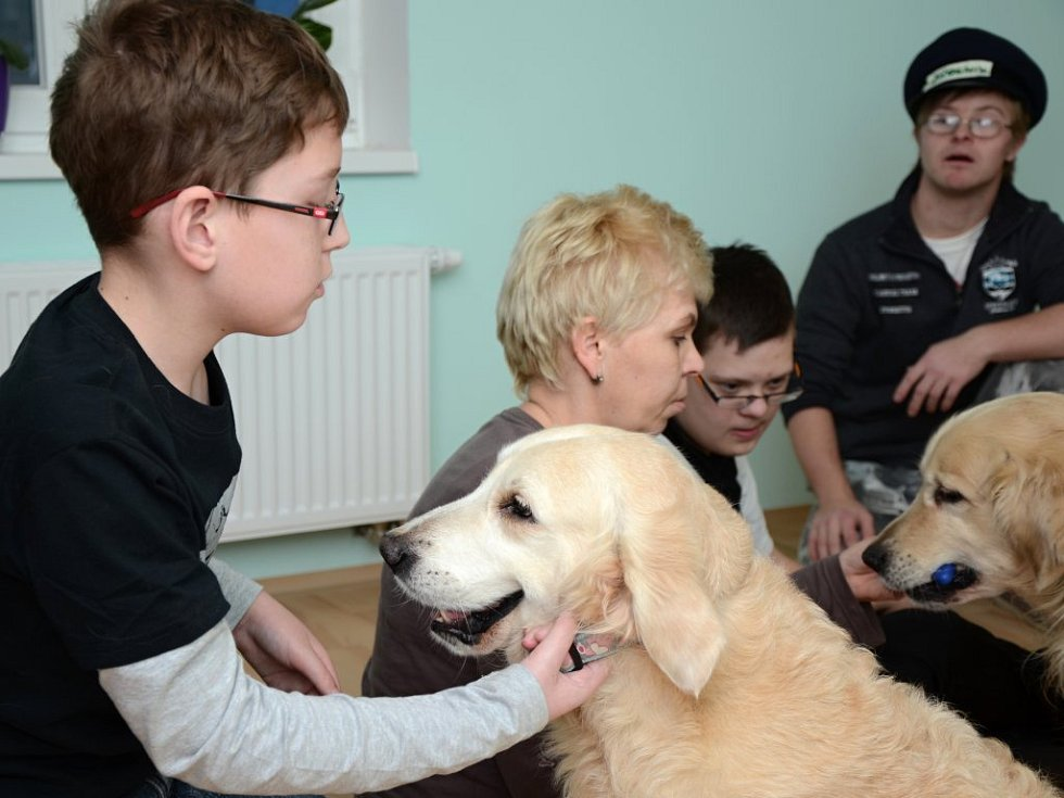 Canisterapie s handicapovanými dětmi.